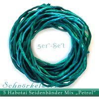 """5er-Set Seidenbänder Mix """"Petrol"""""""