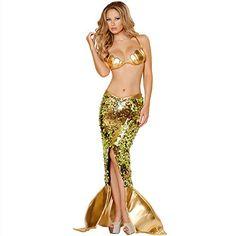 OMSMY Damen Mermaid Büsten einheitliche Versuchung Dessous Reizwäsche Wäsche Set Kostüm Babydoll BH Set Crotchless G-string (Taille: 60-73cm(M))