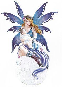 Blue Fairy Angel Figurine with Baby Boy