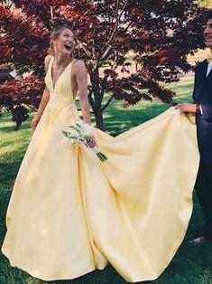 Satin Wedding Dresses Yellow long ball gown, 2018 long homecoming dress prom dress party dress, charming v-neck low-back prom dress Yellow Homecoming Dresses, Prom Party Dresses, Party Gowns, Ball Dresses, Sexy Dresses, Ball Gowns, Wedding Dresses, Dress Prom, Yellow Wedding Dress