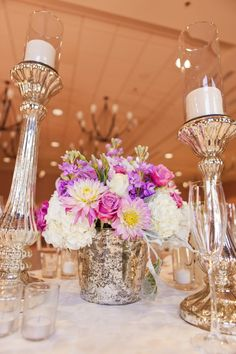 Radiant Orchid purple centerpiece