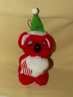 KOALA ORNAMENT FUN WORLD VINTAGE PLUSH STUFFED RED BEAR CHRISTMAS HAT STOCKING #FunWorld