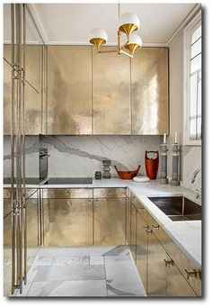 hammered silver kitchen cabinets by Jean Louis-Deniot