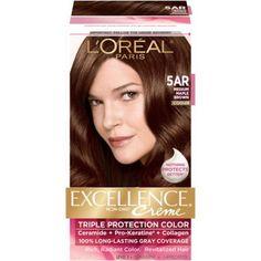 loreal paris excellence non drip creme triple protection color brown - Belle Color Acajou