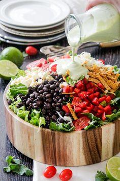 Southwest Salad with Avocado Dressing - RecipeGirl.com