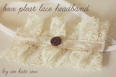 box pleat lace headband - see kate sew...make into a belt instead of a headband