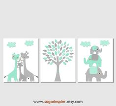 Mint and grey elephant and giraffe Nursery Art by SugarInspire