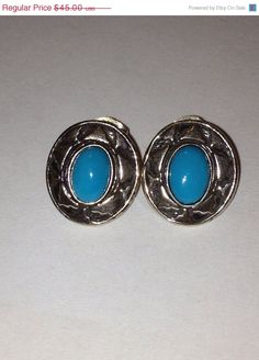 ON SALE Sleeping Beauty Turquoise Earrings Out West Sterling Silver 925 Vintage Tribal Southwestern Jewelry Holiday Christmas Gift on Etsy, $40.50