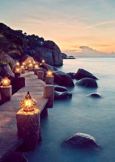 Travel + Photography >> Coastal boardwalk with lights.
