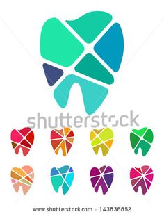 Design teeth logo element. Crushing abstract pattern. Colorful icons set. - stock vector