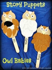 Sun Hats & Wellie Boots: Owl Babies - Upcycled Story Puppets for Storytelling Play Owl Activities, Outdoor Activities For Kids, Owl Babies, Baby Owls, Bird Crafts, Animal Crafts, Toddler Crafts, Crafts For Kids, Owl Classroom