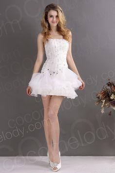 New Design Sheath-Column Strapless Short-Mini Organza Wedding Dress CWZM13002
