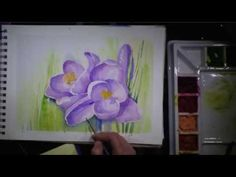 Crocuses - watercolor painting time laps - YouTube