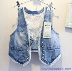 Lace Jeans, Old Jeans, Denim And Lace, Denim Vests, Denim Jackets, Diy Vetement, Hippie Outfits, Denim Outfit, Cycling Outfit