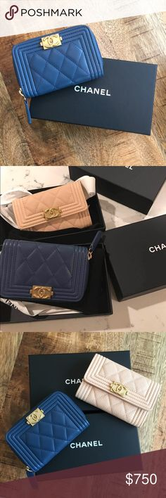 Authentic NWT Chanel Card Case Authentic. RARE! Lamb skin blue with gold logo, Chanel boy style card case. Original box, ribbon, certificate card, care card and dust bag will be included. CHANEL Bags Wallets