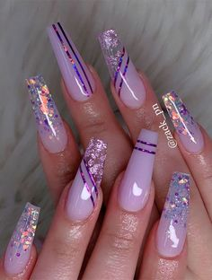 Awesome Pink Acrylic Nails Designs That You Must Know - I don't think any girl can resist the charm of pink acrylic nails designs. Almost all girls have a paranoid hobby for pink acrylic nails designs, because such nails are really beautiful. Pink Acrylic Nail Designs, Purple Acrylic Nails, Best Acrylic Nails, Purple Nails, Purple Nail Designs, Best Nail Designs, Summer Nail Designs, Line Nail Designs, Pink Summer Nails