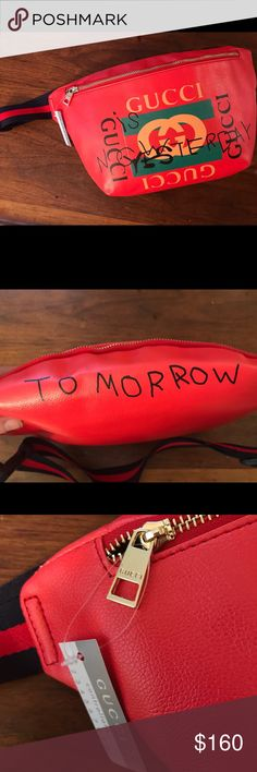 869fe8e71 Gucci large fanny pack bag purse red tomorrow Gucci red large fanny pack  can be worn