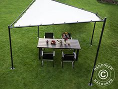 GAZEBO, BUTTERFLY, 4X4 M, SAND Gazebo in a unique design and quality that will provide you with perfect shade in the garden or on the patio. The clever design will also drain the water away from the 4-layer fabric in case of a small shower. The powder coated steel frame is strong and durable.