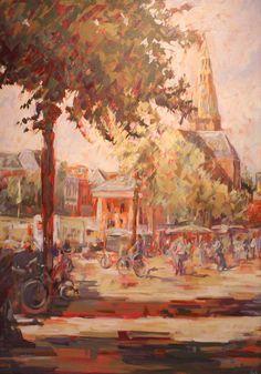 Vismarkt Groningen, Olieverf op paneel, Herma van Bolhuis