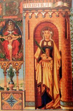 santa barbara estampa del libro de alban butler vida de los santos