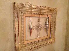 """Old picture frame, ornaments tied with twine. Check out """"The Simplistic Family"""""""