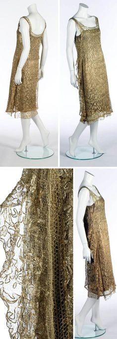 Cocktail dress, Chanel, ca. 1924. Gold lamé slip with yellow on ivory satin. Underslip with lace trimmed hem and lead weights. Gold guipure over-dress edged in gold braid, with gold lace flounce running across the rear dropped waist and down the sides. Kerry Taylor Auctions