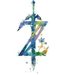 Legend of Zelda Breath of the Wild Print Nintendo Video Game Summary Aq . - My Pano - Legend of Zelda Breath of the Wild Print Nintendo Video Game Abstract Watercolor …- - The Legend Of Zelda, Legend Of Zelda Tattoos, Legend Of Zelda Breath, Legend Of Zelda Poster, Breath Of The Wild, Zelda Sword, Skyward Sword, Deco Gamer, Image Zelda