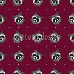 Cute Raccoon - Pattern design with cute muzzles of raccoons on polka dots.