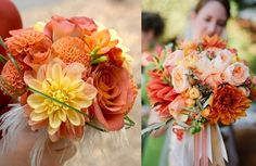 color palette for wedding yellow + flowers   Peach, orange, yellow wedding flowers/bouquet