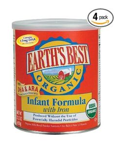 Earth's Best Organic Infant Formula with Iron, DHA & ARA, 23.2 Ounce Canisters (Pack of 4). Wow this is very expensive!