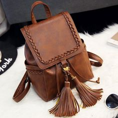 Vintage Brown PU Flap Tassels Braid Draw String Weave School Backpack
