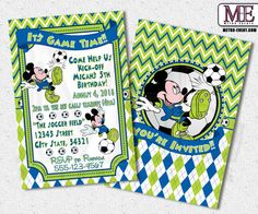 Mickey Mouse Soccer, Mickey Mouse Invitations, Mickey Invitation, Micky Birthday Invitation, Mickey Soccer Invitations