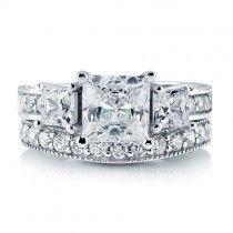 Princess Cut Cubic Zirconia Cz 925 Sterling Silver 2-Pc 3-Stone Wedding Ring Set 2.74 Carat