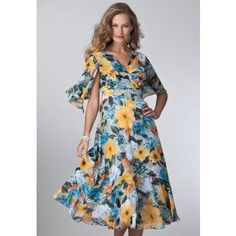 Roamans Plus Size Dress in Floral Print with Empire Waist