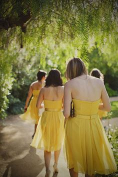 The back of the yellow dress. Spring Bridesmaid Dresses, Yellow Bridesmaid Dresses, Wedding Bridesmaid Dresses, Be My Bridesmaid, Yellow Wedding Colors, Yellow Weddings, Spring Wedding Decorations, Creative Colour, Mellow Yellow
