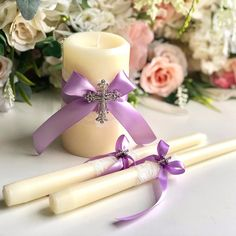 Ivory and Violet Unity Candles Set🦋 Wedding Unity Candles, Pillar Candles, Wedding Ceremony, Our Wedding, Ring Pillow Wedding, Flower Girl Basket, Candle Set, Purple Wedding, Wedding Accessories