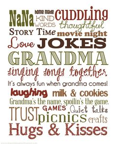 Free Grandma Subway Art ~  A beautiful birthday or Mother's Day gift.  Download @: http://deseretdesigns.blogspot.com/search/label/Grandma%27s