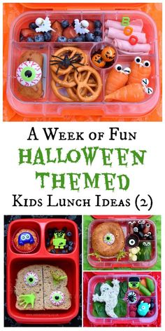 Fun Halloween Bento Lunches - Week 2 Fun and healthy Halloween themed lunch ideas for kids - a whole weeks worth of very easy and totally doable ideas (part from Eats Amazing UK Kids Lunch For School, Healthy Lunches For Kids, Lunch Snacks, Clean Eating Snacks, Kid Lunches, Creative School Lunches, Healthy Snacks, Kid Snacks, School Fun
