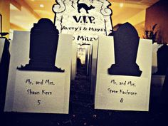 Tombstone place cards for a Boo Mitzvah