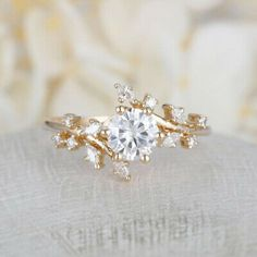 Rose gold engagement ring Diamond Cluster ring Unique engagement ring Delicate leaf wedding Bridal set Promise Anniversary Gift for women - Schmuck - Engagement Rings Cluster Ring, Diamond Cluster Engagement Ring, Morganite Engagement, Engagement Ring Settings, Vintage Engagement Rings, Diamond Wedding Bands, Vintage Rings, Halo Engagement, Unique Vintage