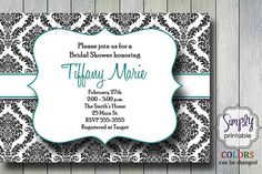 Hey, I found this really awesome Etsy listing at http://www.etsy.com/listing/93880002/damask-bridal-shower-invitation-black