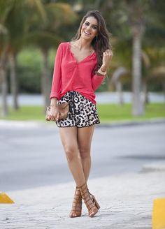 Meu look: Animal print shorts