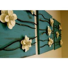 Craft Ideas / Paper flowers and branches on a canvas. - Polyvore