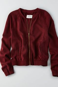 AEO Tencel Bomber Jacket , Burgundy | American Eagle Outfitters