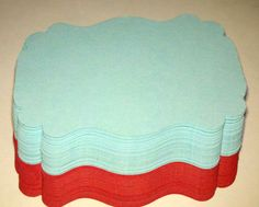 60 Red and Tiffany Blue/Aqua Tags, Perfect for Wedding Favors or Candy Buffet or Scrapbook Labels. $6.00, via Etsy.