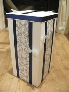 DIY postbox- could fit in nicely with the navy theme Wedding Post Box, Card Box Wedding, Wedding Stationary, Wedding Invitations, Invites, Wedding Crafts, Diy Wedding, Wedding Decorations, Wedding Ideas