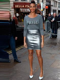Alesha Dixon out and about in London wearing metallics, 2013. #fashion #style #inspiration #chic #clothes