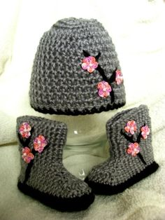 Baby Blossoms Hat and Booties Set Gray by BabyOasis on Etsy by Merryn