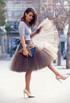 Babyonline Lady de princesa tutú de tul Midi la rodilla Falda enaguas marrón marrón Talla única