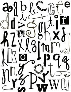DOODLE ALPHABET LOWER Case Letters - great for doodling text on your gelli printed cards, journal pages or mixed media artwork!